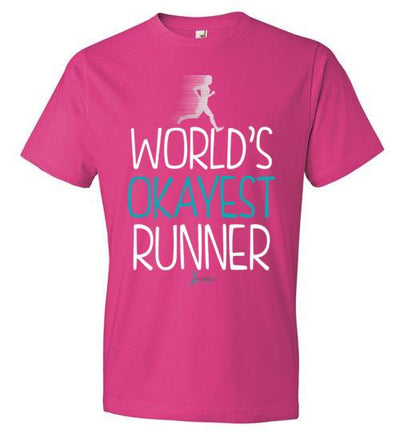 World's Okayest Runner T-Shirt T-Shirt Mbio Apparel Anvil Hot Pink S
