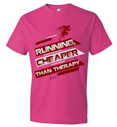 Running, Cheaper Than Therapy T-Shirt T-Shirt Mbio Apparel Anvil Hot Pink S