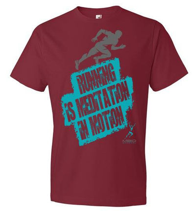 Running is Meditation in Motion T-Shirt T-Shirt Mbio Apparel Anvil Independence Red S