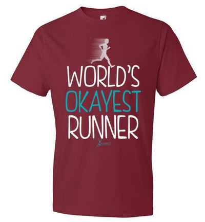 World's Okayest Runner T-Shirt T-Shirt Mbio Apparel Anvil Independence Red S
