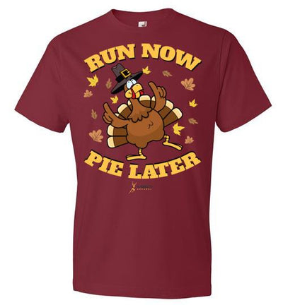 Run Now Pie Later T-Shirt T-Shirt Mbio Apparel Anvil Independence Red S