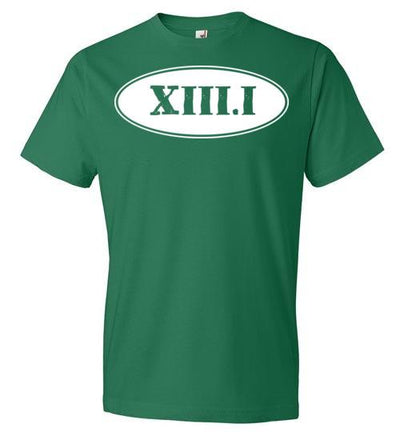 Half Marathon Roman Numeral Oval T-Shirt T-Shirt Mbio Apparel Anvil Kelly Green S