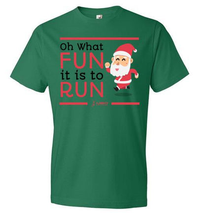 Oh What Fun it is to Run T-Shirt T-Shirt Mbio Apparel Anvil Kelly Green S