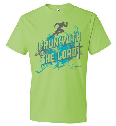 I Run With The Lord T-Shirt T-Shirt Mbio Apparel Anvil Key Lime S