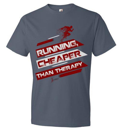 Running, Cheaper Than Therapy T-Shirt T-Shirt Mbio Apparel Anvil Lake S