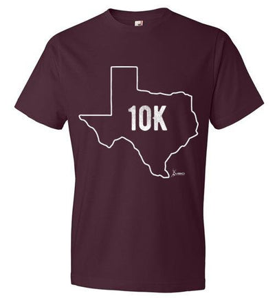 Texas Outline 10K T-Shirt T-Shirt Mbio Apparel Anvil Maroon S