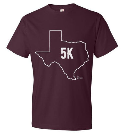 Texas Outline 5K T-Shirt T-Shirt Mbio Apparel Anvil Maroon S