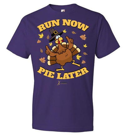 Run Now Pie Later T-Shirt T-Shirt Mbio Apparel Anvil Purple S