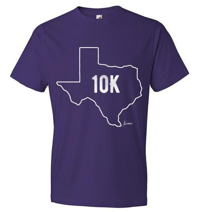 Texas Outline 10K T-Shirt T-Shirt Mbio Apparel Anvil Purple S