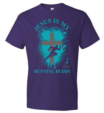 Jesus is My Running Buddy T-Shirt T-Shirt Mbio Apparel Anvil Purple S
