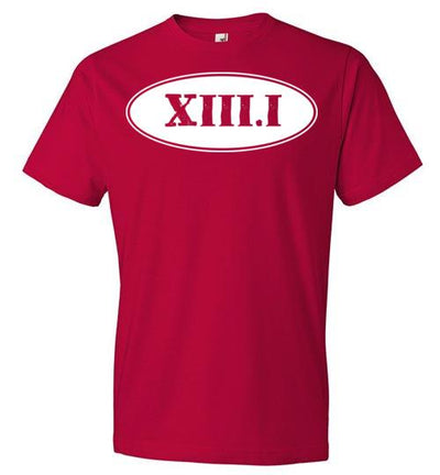 Half Marathon Roman Numeral Oval T-Shirt T-Shirt Mbio Apparel Anvil Red S