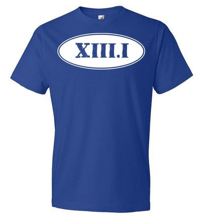 Half Marathon Roman Numeral Oval T-Shirt T-Shirt Mbio Apparel Anvil Royal Blue S
