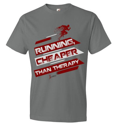 Running, Cheaper Than Therapy T-Shirt T-Shirt Mbio Apparel Anvil Storm Grey S