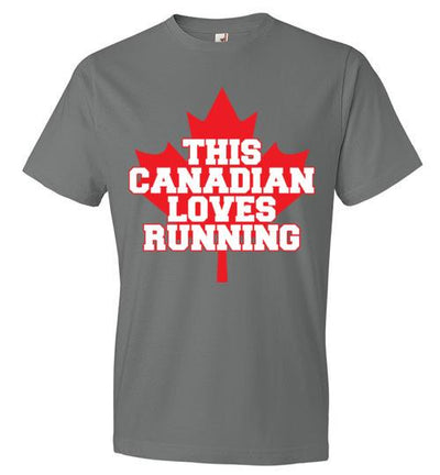 This Canadian Loves Running T-Shirt T-Shirt Mbio Apparel Anvil Storm Grey S