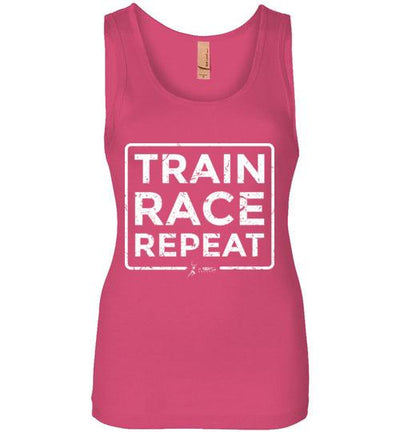 Train Race Repeat Women's Jersey Tank T-Shirt Mbio Apparel Next Level Hot Pink S