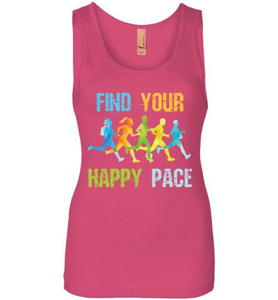 Find Your Happy Pace Women's Jersey Tank T-Shirt Mbio Apparel Next Level Hot Pink S