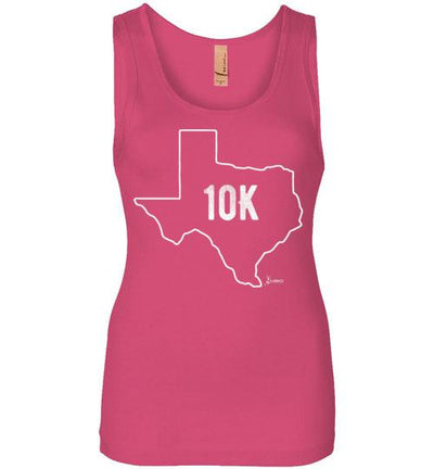 Texas Outline 10K Women's Jersey Tank T-Shirt Mbio Apparel Next Level Hot Pink S