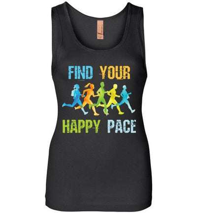 Find Your Happy Pace Women's Jersey Tank T-Shirt Mbio Apparel Next Level Black S