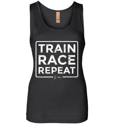 Train Race Repeat Women's Jersey Tank T-Shirt Mbio Apparel Next Level Black S