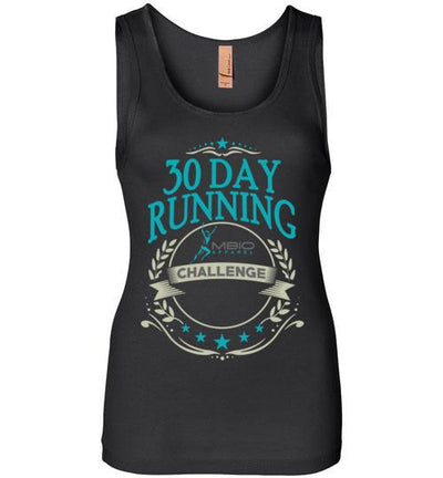 30 Day Running Challenge Women's Jersey Tank T-Shirt Mbio Apparel Next Level Black S