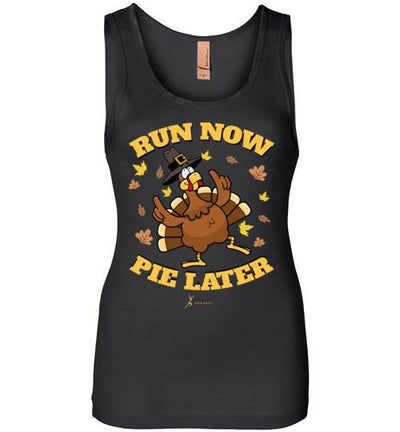 Run Now Pie Later Women's Jersey Tank T-Shirt Mbio Apparel Next Level Black S