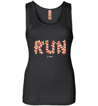 Festive Run Women's Jersey Tank T-Shirt Mbio Apparel Next Level Black S
