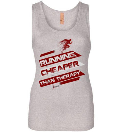 Running, Cheaper Than Therapy Women's Jersey Tank T-Shirt Mbio Apparel Next Level Light Heather Grey S