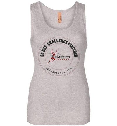 30 Day Challenge Finisher Women's Jersey Tank T-Shirt Mbio Apparel Next Level Light Heather Grey S