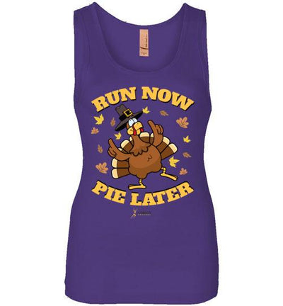 Run Now Pie Later Women's Jersey Tank T-Shirt Mbio Apparel Next Level Purple Rush S