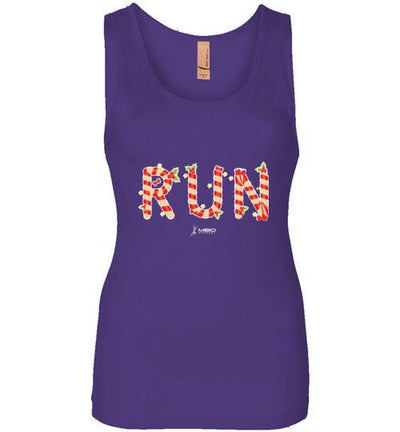 Festive Run Women's Jersey Tank T-Shirt Mbio Apparel Next Level Purple Rush S