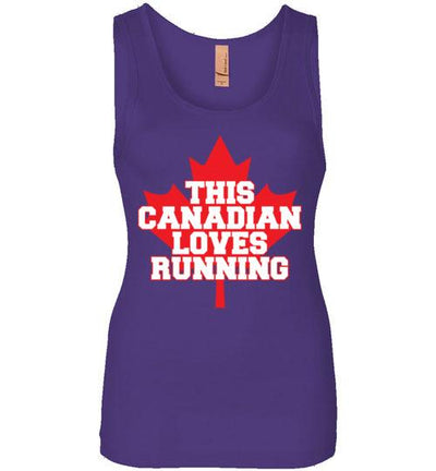 This Canadian Loves Running Women's Jersey Tank T-Shirt Mbio Apparel Next Level Purple Rush S
