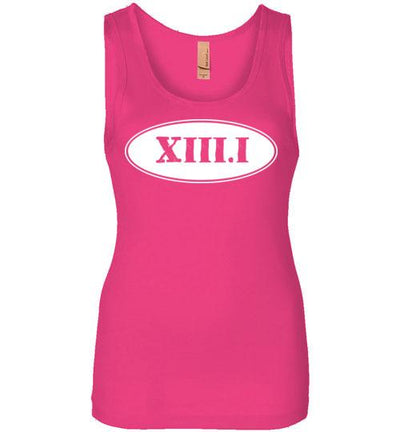 Half Marathon Roman Numeral Oval Women's Jersey Tank T-Shirt Mbio Apparel Next Level Raspberry S