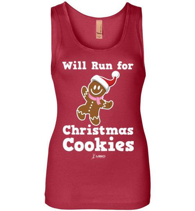 Will Run for Christmas Cookies Women's Jersey Tank T-Shirt Mbio Apparel Next Level Red S