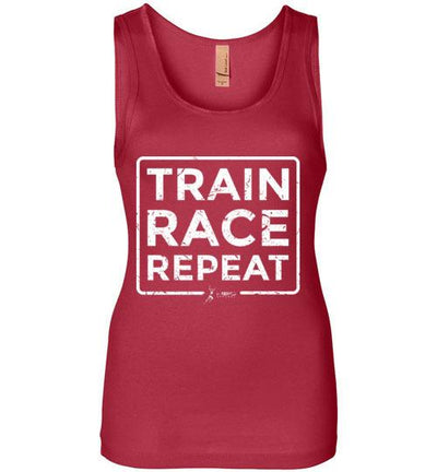 Train Race Repeat Women's Jersey Tank T-Shirt Mbio Apparel Next Level Red S