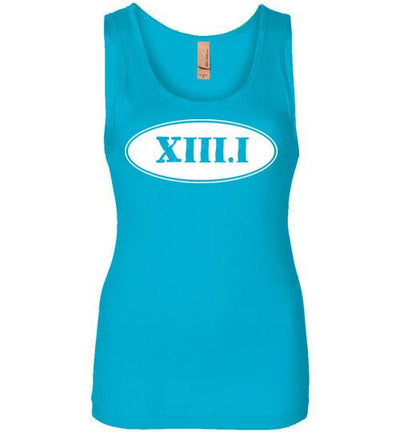 Half Marathon Roman Numeral Oval Women's Jersey Tank T-Shirt Mbio Apparel Next Level Turquoise S