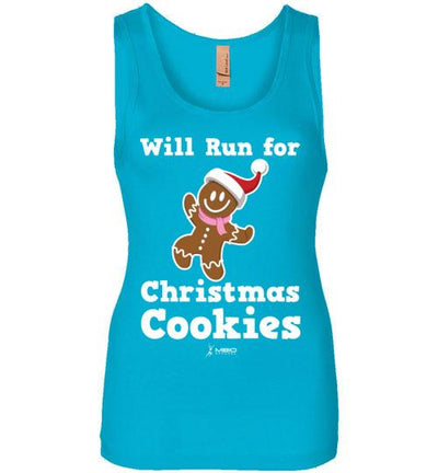 Will Run for Christmas Cookies Women's Jersey Tank T-Shirt Mbio Apparel Next Level Turquoise S