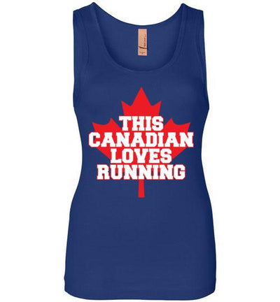 This Canadian Loves Running Women's Jersey Tank T-Shirt Mbio Apparel Next Level Royal Blue S