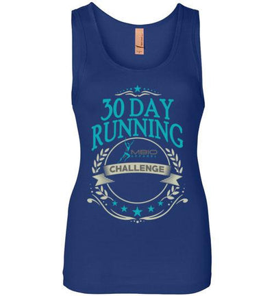 30 Day Running Challenge Women's Jersey Tank T-Shirt Mbio Apparel Next Level Royal Blue S