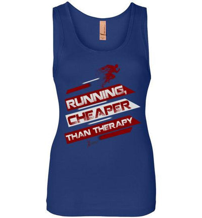 Running, Cheaper Than Therapy Women's Jersey Tank T-Shirt Mbio Apparel Next Level Royal Blue S