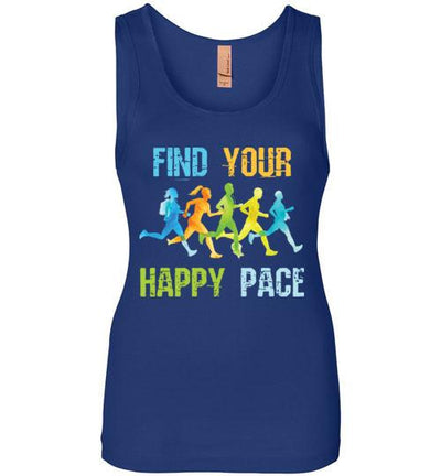 Find Your Happy Pace Women's Jersey Tank T-Shirt Mbio Apparel Next Level Royal Blue S