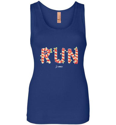 Festive Run Women's Jersey Tank T-Shirt Mbio Apparel Next Level Royal Blue S