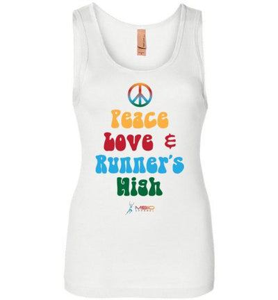 Peace, Love, and Runner's High Women's Jersey Tank T-Shirt Mbio Apparel White S