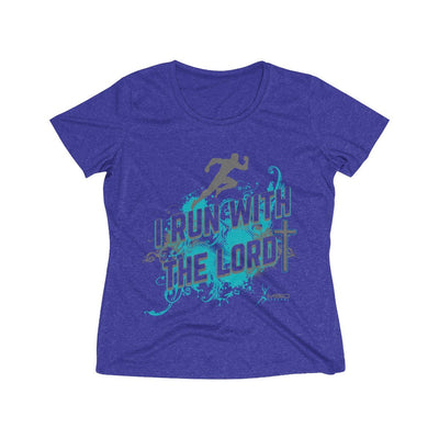 I Run With the Lord Women's Short Sleeve Tech Shirt T-Shirt Printify Sport Tek Cobalt Heather S