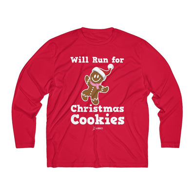 Will Run for Christmas Cookies Men's Long Sleeve Tech Shirt Long-sleeve Printify Sport-Tek True Red XS