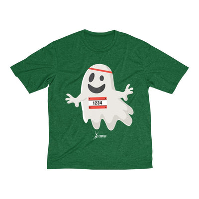 Happy Ghost Runner Halloween Men's Short Sleeve Tech Shirt T-Shirt Printify Sport-Tek Forest Green Heather XS