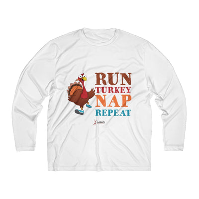 Run Turkey Nap Repeat Men's Long Sleeve Tech Shirt Long-sleeve Printify White XS