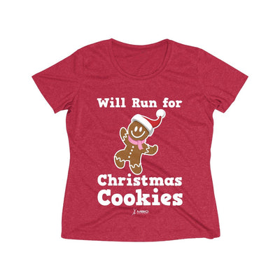Will Run for Christmas Cookies Women's Short Sleeve Tech Shirt T-Shirt Printify Sport-Tek Scarlet Heather L