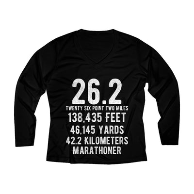 Marathoner Women's Long Sleeve Tech Shirt Long-sleeve Printify Black XS