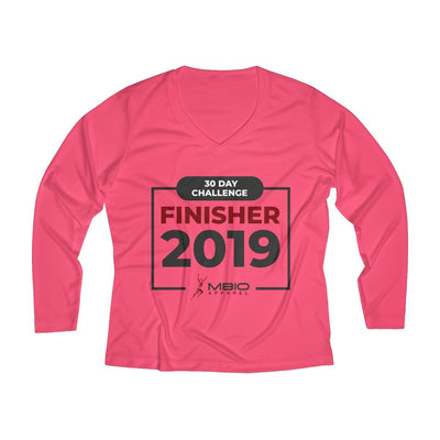 2019 30 Day Challenge Finisher Women's Long Sleeve Tech Shirt Long-sleeve Printify Sport Tek Hot Coral XS