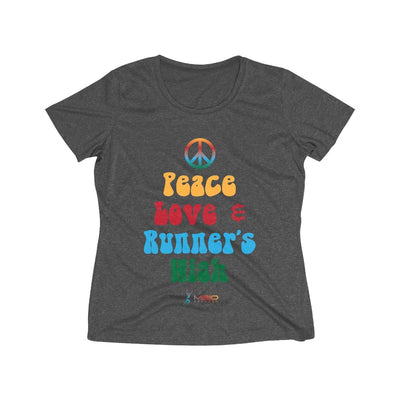 Peace, Love, and Runner's High Women's Short Sleeve Tech Shirt T-Shirt Printify Sport-Tek Graphite Heather L